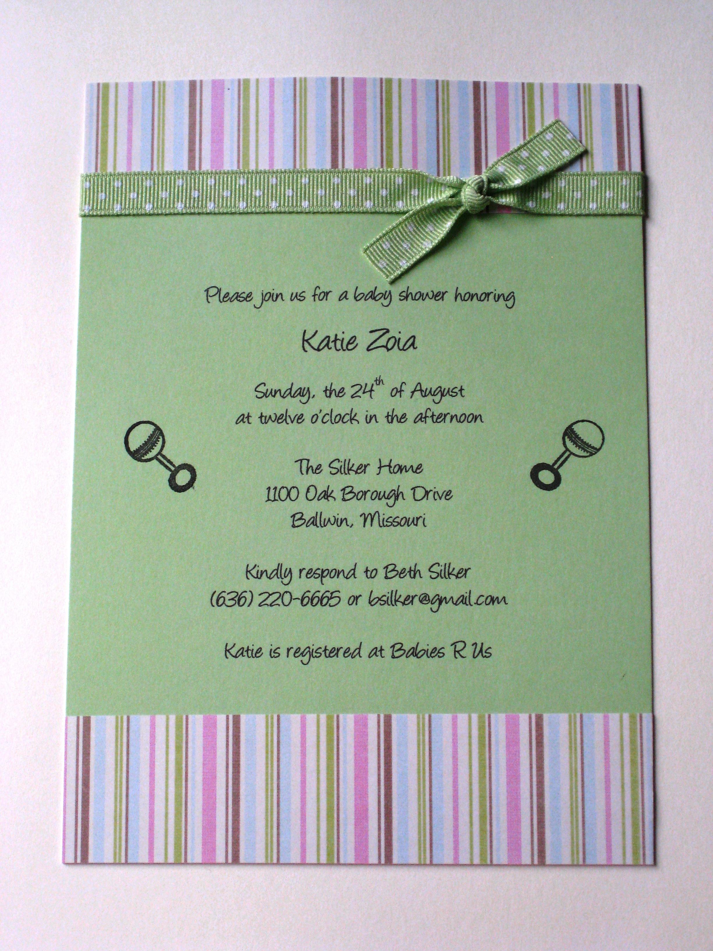 Polka Dot Ribbon Baby Shower Invitation | McKenna Impressions